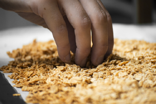 Granola la main dans le bol granola bio petit déjeuner