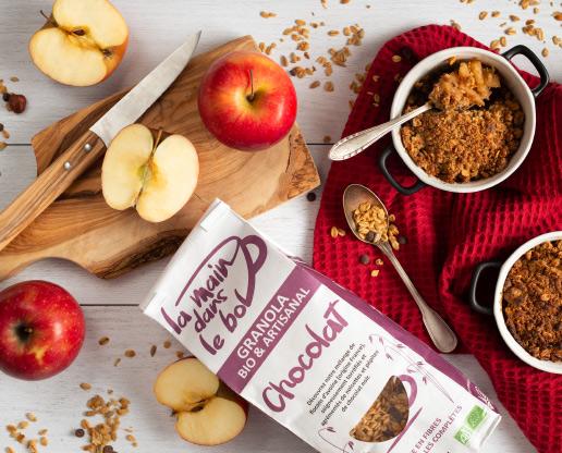 recette crumble aux pommes et au granola chocolat