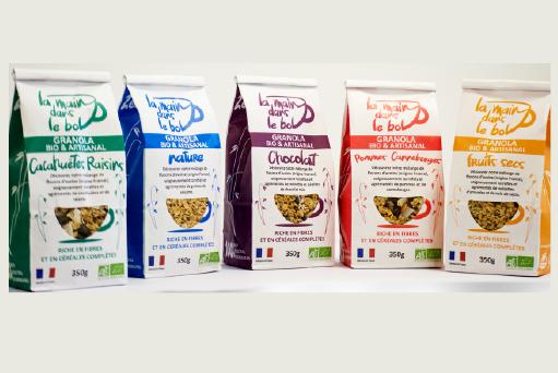 boutique, la main dans le bol, découvrez notre gamme de céréales granola bio, réseau vrac